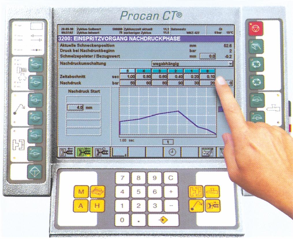 Skærmbillede fra en  BOY-sprøjtestøbemaskine med touch screen-styring