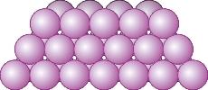Skematisk fremstilling af atompakning i en krystal Atomerne er afbildet som kugler.