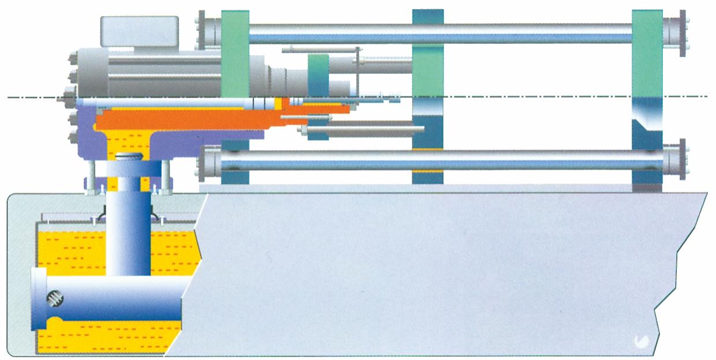 Skematisk to-trins  hydraulisk lukkeenhed