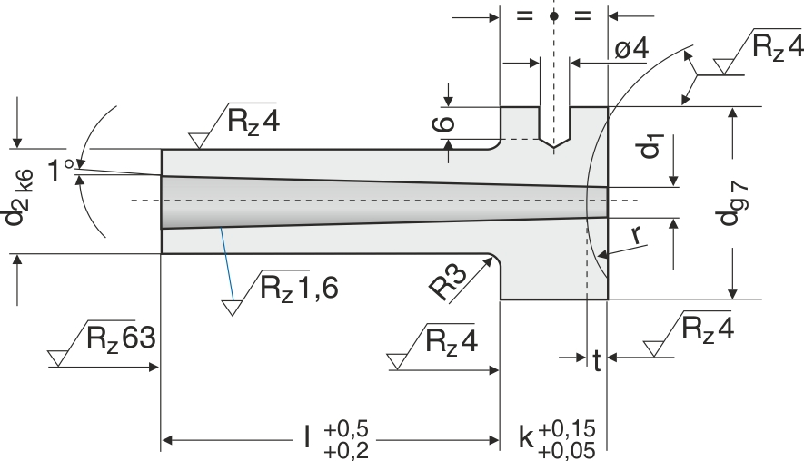 HASCO-standard dyse og anlægsgeometri