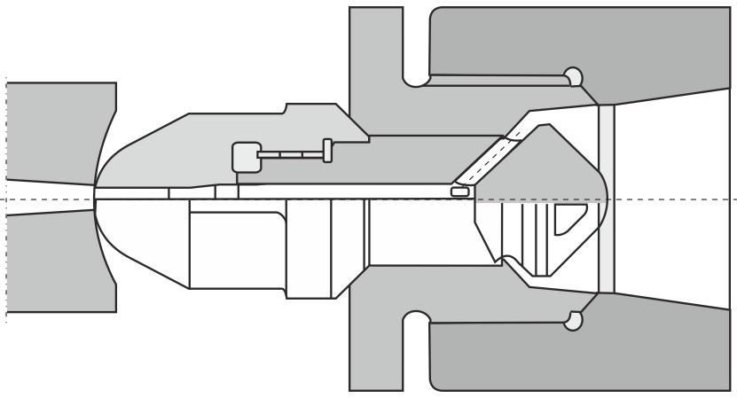Skydelukkedysen i åben stilling