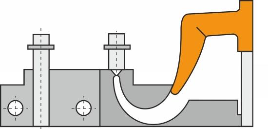 Snablen deformeres i deformeringszonen under sidste fase af udstødningen.