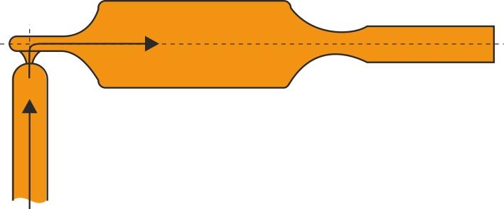 Stropindløbet anvendes fx meget ved sprøjtestøbning af knapper, platter og linser i fx akrylplast.