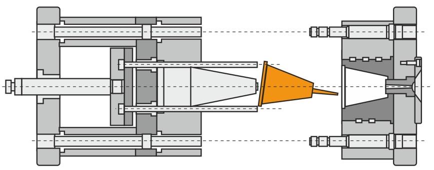Udstødersystem med almindelige stiftudstødere og udstøderkasse