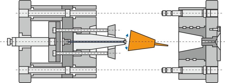 Udstødersystem med almindelige  stiftudstødere og afkortet udstøderkasse