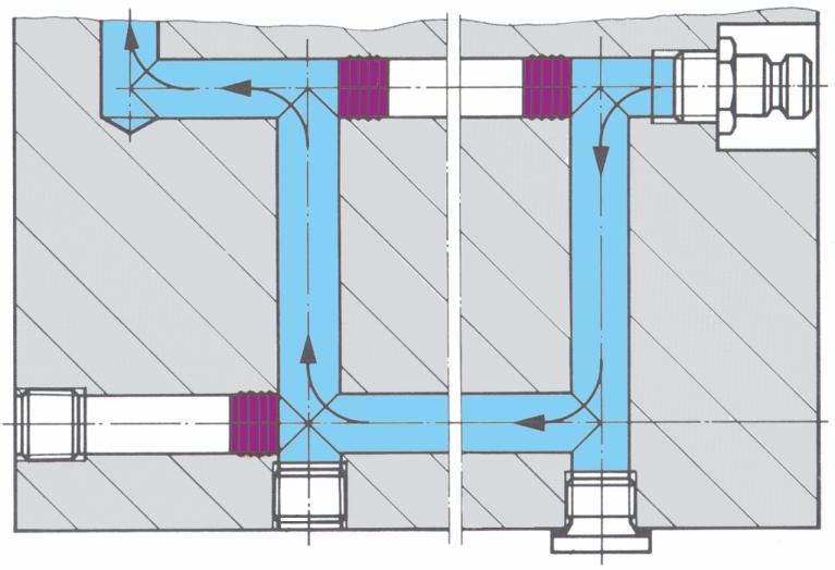 Indsatte lukkepropper til afblænding af kølekanaler