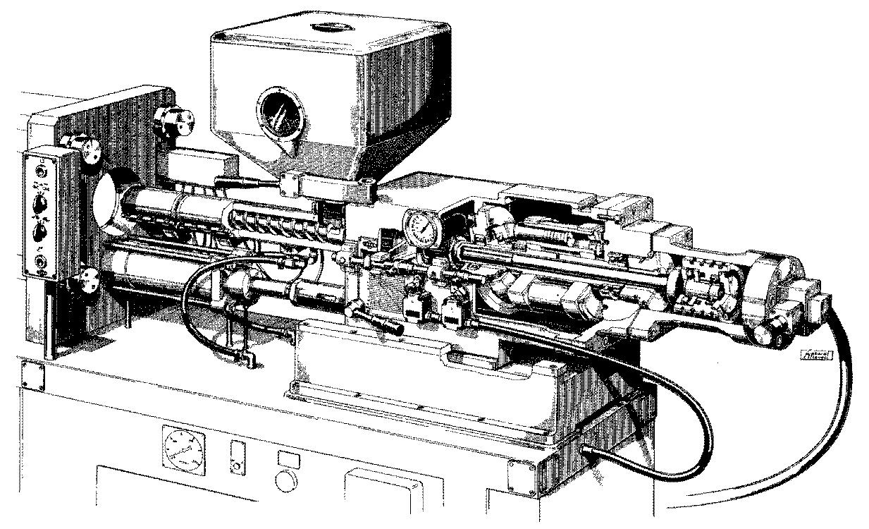Ekstruder/sprøjtestøbemaskine med hydraulisk stempel til at presse snekken frem ved ekstrudering af slangen