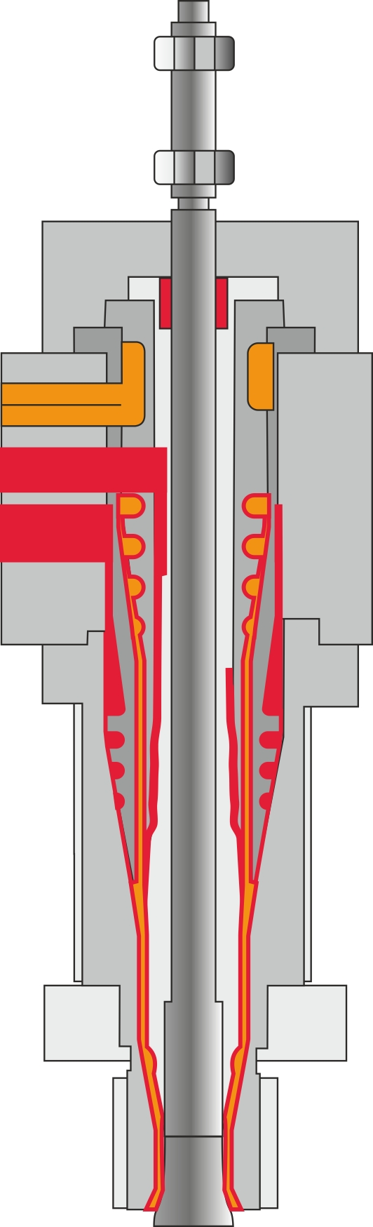 Tre-lags-slangehoved med bevægelig dorn